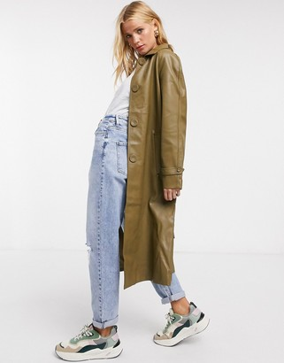 Fashion Union coat with collar and belt in pu