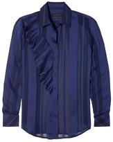 Banana Republic Dillon-Fit Sheer Stripe Ruffle Shirt