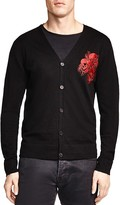 The Kooples Embroidered Skullhead Merino Cardigan