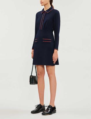 Sandro Contrast-piping crepe mini dress