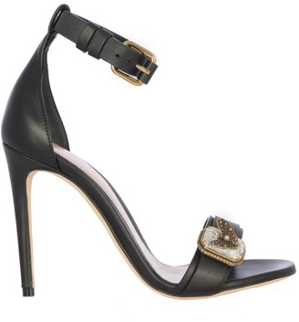 Alexander McQueen Leather Upper And Sole Sandal