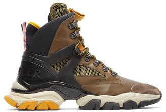 Moncler Tristan Leather And Mesh Hiking Trainer - Mens - Brown Multi