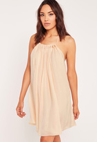 Missguided Pleated Halter Neck Swing Dress Nude