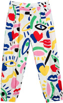 Stella McCartney Kid Girl's Graphic Print Pleated Baggy Pants, Size 4-14