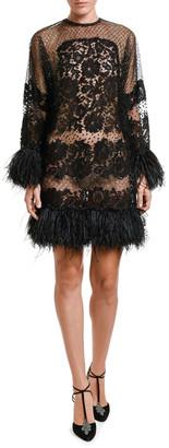 Valentino Feather-Trim Lace Dress