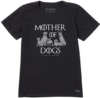 Life is Good Mother Of Dogs Crusher Tee (Jet Black) Women's Clothing