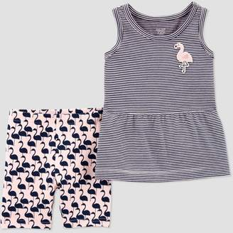 Carter's Just One You made by carter Toddler Girls' 2pc Sleeveless Flamingo Embroidered Top and Bottom Set - Just One You® made by Navy/Pink