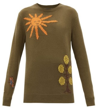 The Elder Statesman Gaynor Butterfly Universe Cashmere Sweater - Khaki