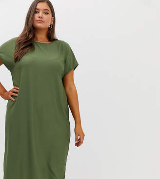 Asos DESIGN Curve rib oversized midi t-shirt dress