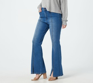 Peace Love World Medium Wash High Front Slit Jeans