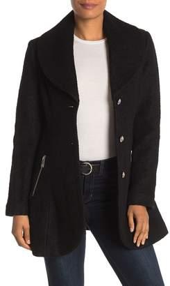 GUESS Shawl Collar Wool Blend Coat