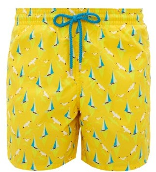 Vilebrequin Sailboat Print Swim Shorts - Mens - Yellow Multi