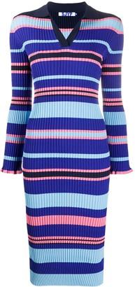 Sjyp Striped Polo Shirt Midi Dress