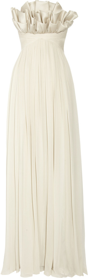 Notte by Marchesa Ruffled silk-chiffon gown
