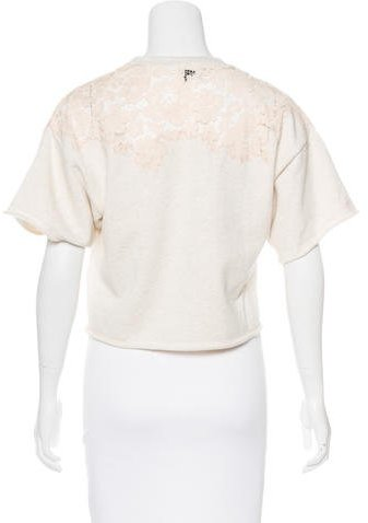 3.1 Phillip Lim Lace-Accented Short Sleeve Sweatshirt