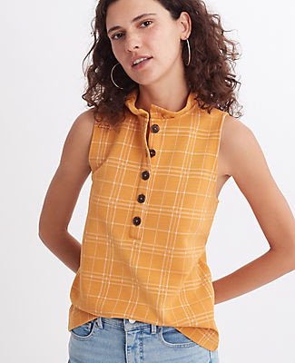 Ann Taylor Petite Checked Ruffle Henley Shell Top