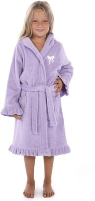 Linum Home Textiles Kids Hooded Ruffle Bathrobe w/ Embroidered Bow