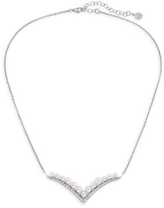 Majorica Arabesque Sterling Silver & Imitation Pearl Bar Pendant Necklace