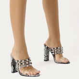 Public Desire Vacay Diamante Stud Caged Perspex Strap Heels in Faux Snake