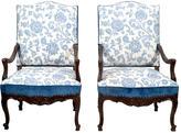 One Kings Lane Vintage 19th-C. Blue Fauteuils