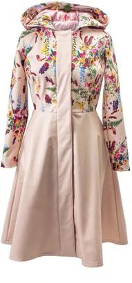 Rainsisters Floral Fit And Flare Beige Waterproof Coat: Beige Midsummer