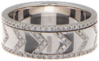 Ef Collection 14K White Gold Diamond Chevron Spinning Ring - 0.52 ctw