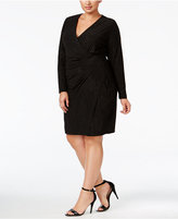 Calvin Klein Plus Size Sparkle Ruched Faux-Wrap Dress