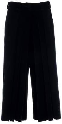 Adelina Rusu Black Cotton Velvet Pleated Pants