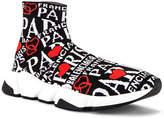 Balenciaga Paris Bonjour Speed Light Knit Sneaker in Black | FWRD
