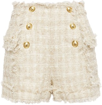 Balmain Frayed Boucle-tweed Shorts