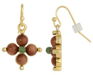 2028 Gold-Tone Semi Precious Gold Stone and Aventurine Drop Earrings