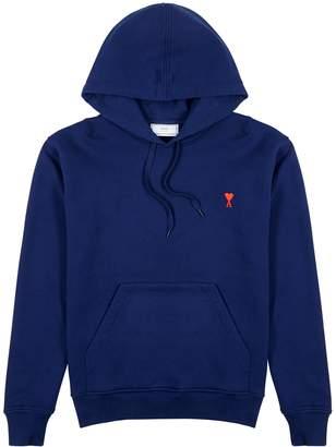 Ami Logo-embroidered Hooded Cotton Sweatshirt