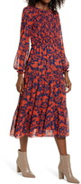 Julia Jordan Floral Long Sleeve Chiffon Midi Dress