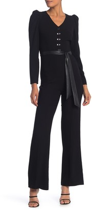 Elie Tahari Campbell Faux Leather Waist Sash Jumpsuit