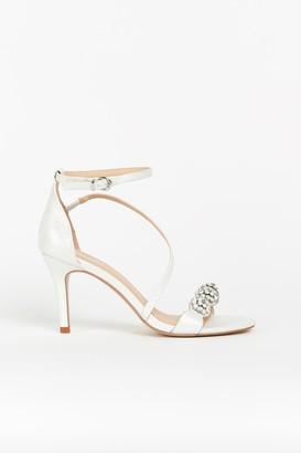 Wallis **White Diamante Strap Heel
