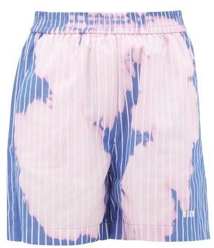 MSGM Logo-print Tie-dye Pinstriped Cotton Shorts - Womens - Pink
