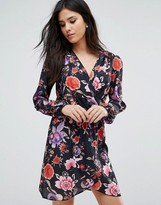 Love Printed Long Sleeve Wrap Dress
