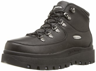 Skechers Women's SHINDIGS-Renegade Heart-Rugged Heritage-Style 6-Eye Leather Boot Chukka Black 5.5 M US