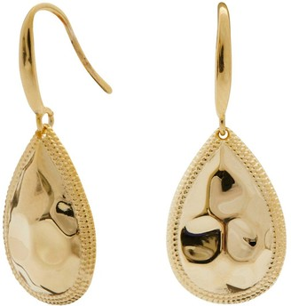 Simply Silver 14ct Gold Plated Sterling Silver Beaded Edge Pear Drop Earrings