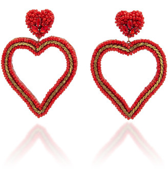 Deepa Gurnani Jamie Beaded Heart Drop Earrings