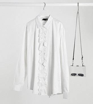 ASOS DESIGN Plus slim fit sateen ruffle front shirt in white