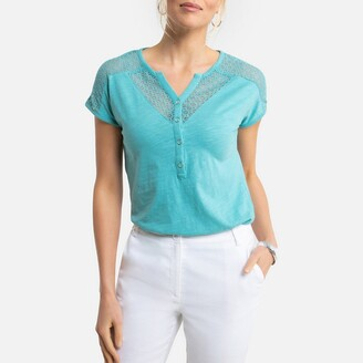 Anne Weyburn Lace Cotton T-Shirt with Grandad-Collar and Short Sleeves