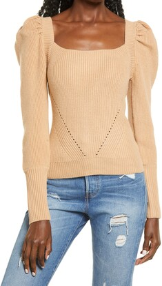 WAYF Leland Puff Sleeve Tie Back Sweater