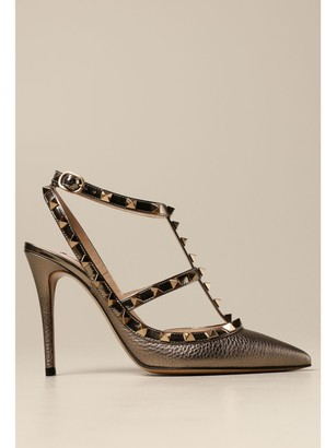 Valentino Rockstud Pumps In Hammered Leather With Studs