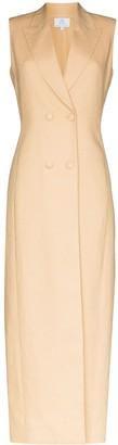 Rebecca De Ravenel Double-Breasted Linen Maxi Dress