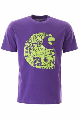 Carhartt COLLAGE LOGO T-SHIRT L Purple, Green Cotton