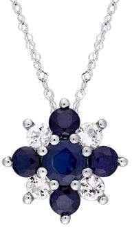 Sonatina Blue, White Sapphire and 14K White Gold Cluster Floral Necklace