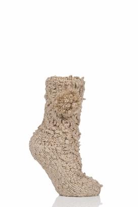 Elle Socks Elle Women Sparkle Pom Pom Slipper Socks Pack of 1 Claret 4-8