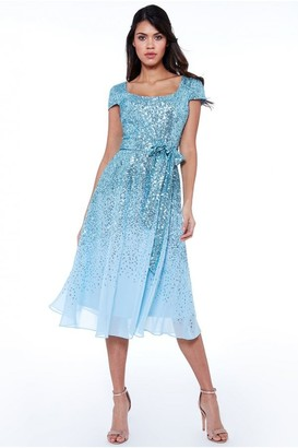 Goddiva Powder Blue Sequin & Chiffon Belted Midi Dress