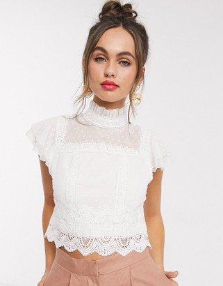 Hope & Ivy lace insert victoriana top in ivory